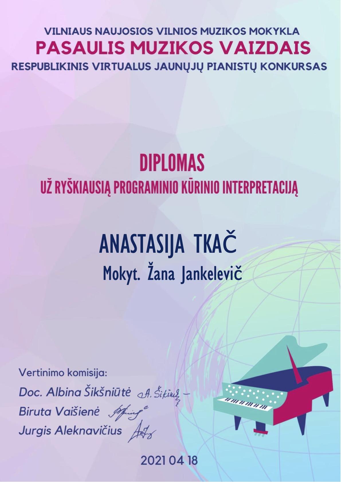 Nuoširdžiai sveikiname VKMA muzikos skyriaus auklėtinius ir jų mokytojus!